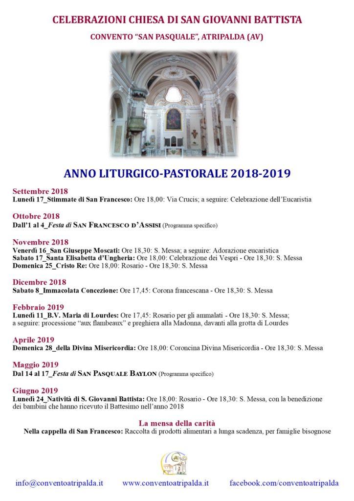 Calendario Liturgico Per Bambini.Calendario Liturgico 2018 2019 Convento Atripalda